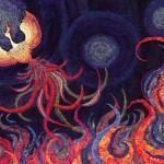「火の鳥」410×530mm 刺繍糸、羊毛