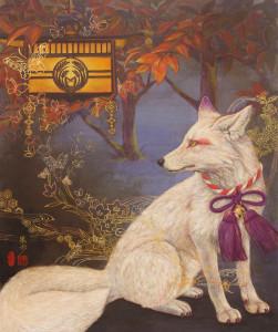 「白狐の神使」/F20号(727×606mm)/雲肌麻紙、岩絵の具