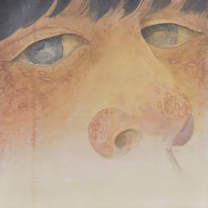 タイトル:あの熱の匂いを覚えているの?(このまま何も変わらずに生きるの?) サイズ:164x164(cm) 画材:リネン、岩絵具、金属泥